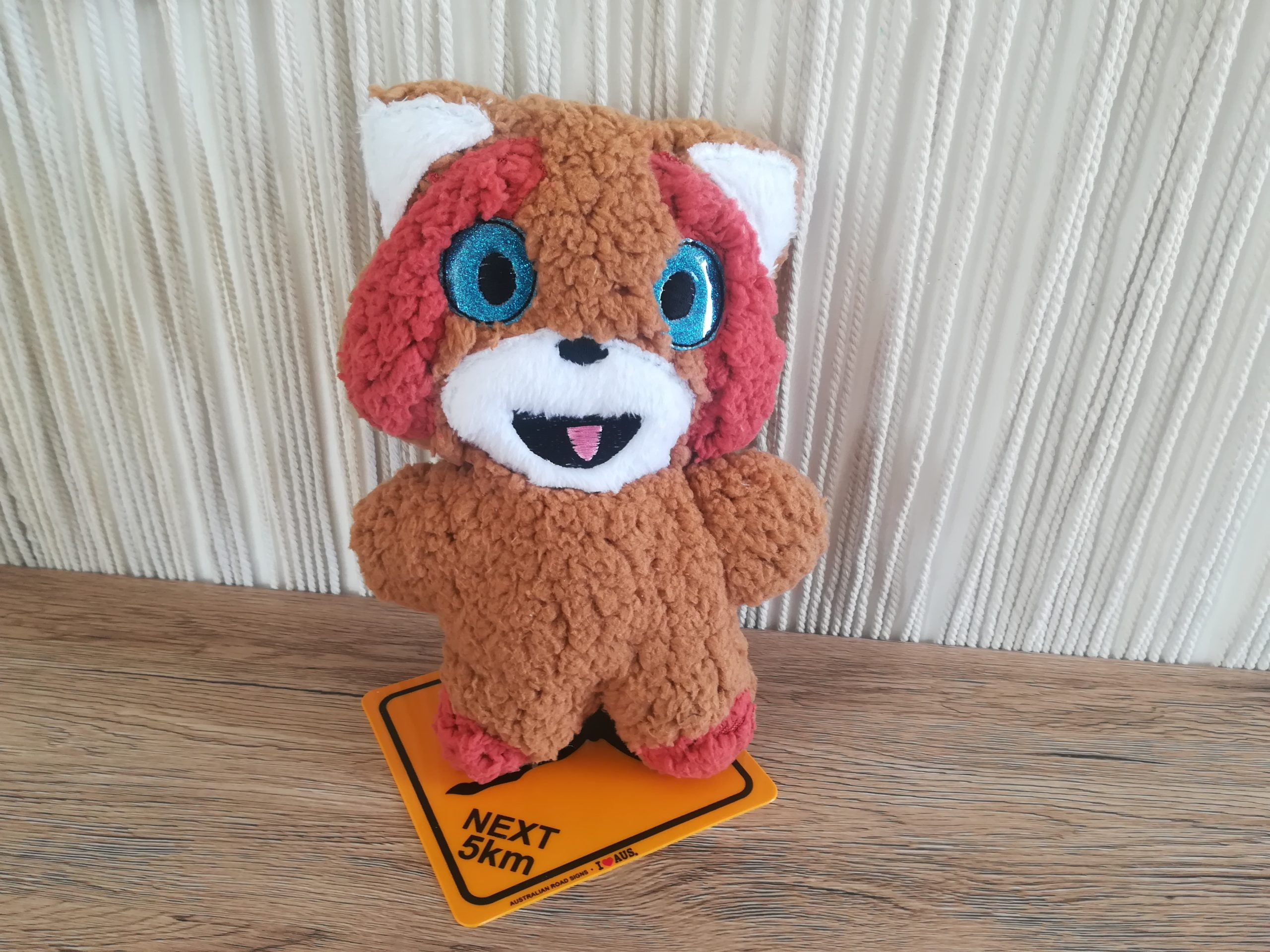 Photo Box carton broderie machine doudou panda roux