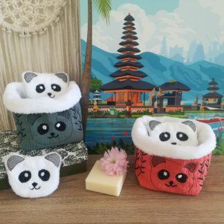 Photo Cotons démaquillants et pochon Panda en microfibre bambou Oeko-Tex