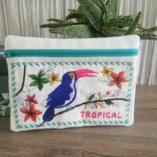 Photo Box broderie machine pochette tropicale doublée avec zip